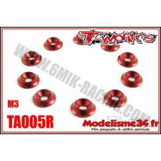 T-Work's Rondelles cuvettes M3 rouge pour vis fraisées (10) - TA005R