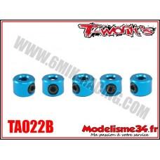 T-Work's Bagues d'arrêt de 3mm bleues (5pcs) - TA022B