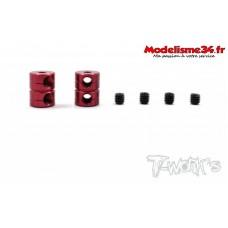 T-Work's Bagues d'arrêt double de 2mm V2 rouge (2) - TA108R