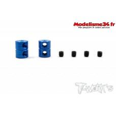 T-Work's Bagues d'arrêt double de 2mm V2 bleues (2) - TA108B
