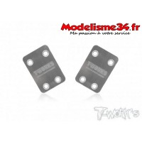T-work's Sabot de protection chassis inox ASSO RC8 B3.1 (x2)  : TO220R