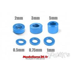 T-Work's Entretoises alu 3mm bleues en 0.5, 0.75, 1, 2, 3, et 5mm - TA012B