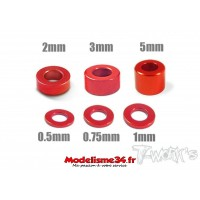 T-Work's Entretoises alu 3mm rouges en 0.5, 0.75, 1, 2, 3, et 5mm - TA012R