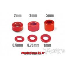 T-Work's Entretoises alu 3mm rouges en 0.5, 0.75, 1, 2, 3, et 5mm - TA012R