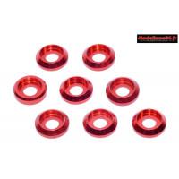 Rondelles cuvettes basse rouges pour vis M3 TC ( 8 ) : m1575