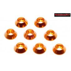Rondelles cuvettes hautes oranges pour vis M3 TC ( 8 ) : m1588