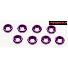 Rondelles cuvettes alu 3mm violet ( 8 ) : m1591