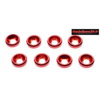 Rondelles cuvettes alu 3mm rouges ( 8 ) : m1592
