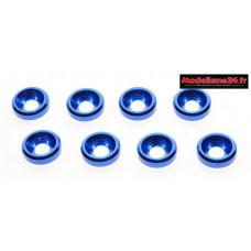Rondelles cuvettes alu 3mm bleues ( 8 ) : m1593