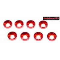 Rondelles cuvettes alu 4mm rouges ( 8 ) : m1594