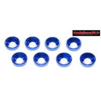 Rondelles cuvettes alu 4mm bleues ( 8 ) : m1595