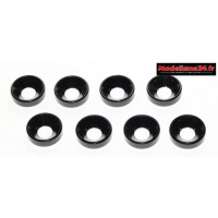 Rondelles cuvettes alu 4mm noires ( 8 ) : m1596