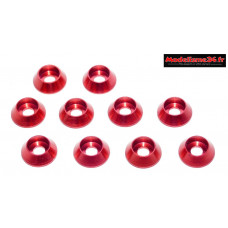 Rondelles cuvettes hautes rouges pour vis M3 TC ( 10 ) : m1597